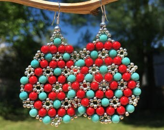 Beaded Statement Earrings, Turquoise Jewelry, Big Bold Chunky Accessories, Bohemian Boho Gypsy Gifts for Free Spirit, Native American Style