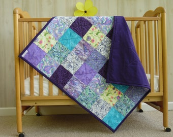 Crib Quilt - Handmade Baby Quilt - Baby Girl Quilt - Baby Quilt - Baby Quilt Girl - Modern Baby Quilt - Toddler Quilt - Floral Crib Bedding
