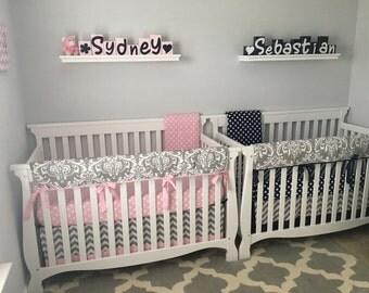 Baby Girl Baby Boy Twin Crib Bedding Set Navy Pink Gray