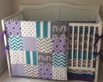 Baby Bedding Crib Set Purple Turquoise and Gray Butterfly Made to Order
