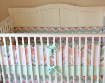 Baby Girl Crib Bedding Coral Mint Peach Gray Arrows Bumper and Skirt Only