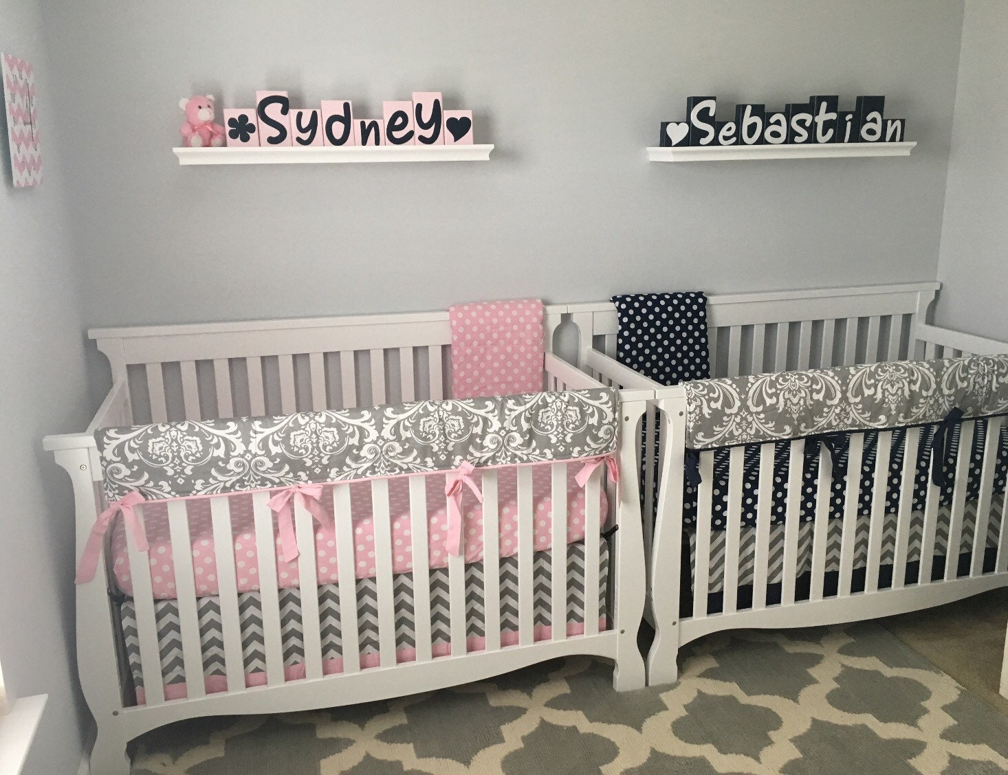 Baby Girl Baby Boy Twin Crib Bedding Set Navy Pink Gray