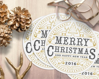 PRINTABLE Christmas New Year Multicolor DYI Letterpress Vintage Gift Tags Labels Greeting Cards Hang Tags