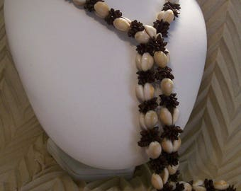 Vintage 1970s Hawaiian Shell and Koa Seed Necklace - 40 Inches in Length
