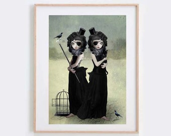 Twin Sisters Art Print - Lowbrow Art - Cat & Bird - A Difference Of Opinion