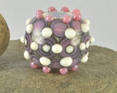 Purple round  lampwork glass focal bead - Izzybeads SRA