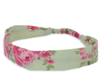 """40% off Fabric Headband - Barefoot Roses- Pick your size - fit toddlers to adults - 1-1/2"""" wide"""