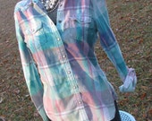 Distressed American Eagle plaid flannel shirt - bleached dipped splattered ombre - Size S (female) (#S48)