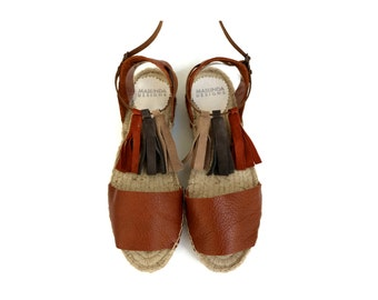 Espadrille Sandals. Leather Espadrilles with Tassels. Open Toe Summer Leather and Suede Shoes. Women's Sandals. Greek Sandals.