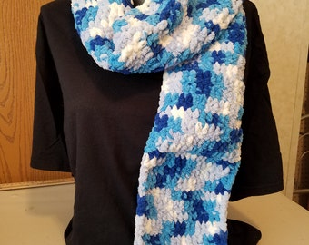 Bright Blues Variegated Baby Blanket Yarn Scarf