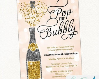 Engagement Party Invitation | Champagne Invitation | Pop the Bubbly | Bridal Shower Invitation | Birthday Party Invitation | Bachelorette