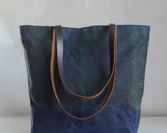 Blackwatch Plaid Waxed Canvas Tote Bag with Leather Straps - Ready to Ship
