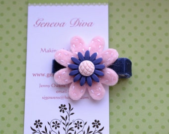 Navy and Pink Daisy Felt Flower Clip