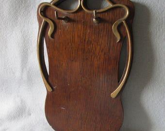 Antique Oak & Brass Art Nouveau Hooks, Wall Rack