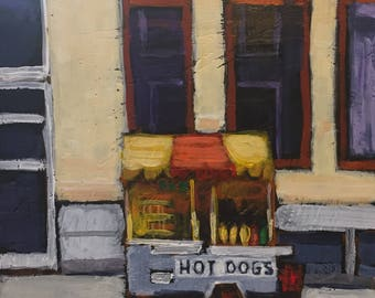 "Hot Dog Stand - Original Acrylic Oil Encaustic Cityscape Painting - 8""x 8"""