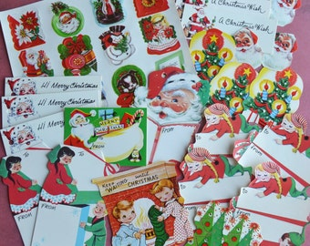 Vintage 1950's Christmas Seals and Gift Tags 35 pc Lot