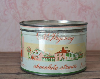 Vintage Ole Virginny Chocolate Straws Tin with Mammy