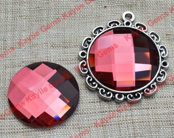 New - Mirror Glass Cabochon cab 25mm Round Checker Cut Faceted Dome -Pomegranate Garnet - 2pcs