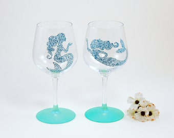 Mermaid wine glasses - Set of 2 hand painted stemmed glasses - Sea Glass Collection