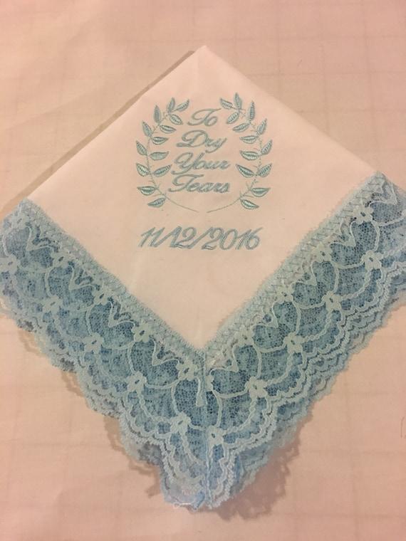 Custom Personalized Wedding Handkerchief Brides Something Blue