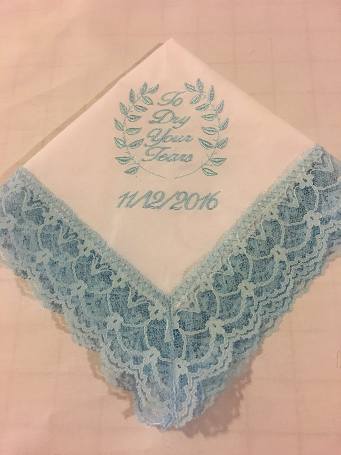Custom Personalized Wedding Handkerchief Brides Something Blue