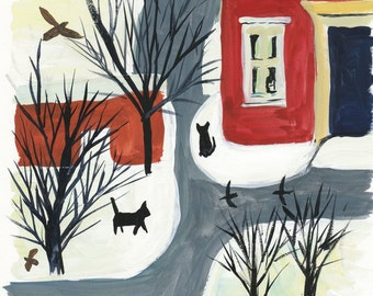 Folk Art Painting of Cats in the Village, European Cat Painting, 7.5x8, Original Gouache Painting,