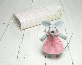 Valentine gift for kids miniature felt mouse stuff animal pink miniature mouse hand made doll plushy children gift pet pukifee blythe