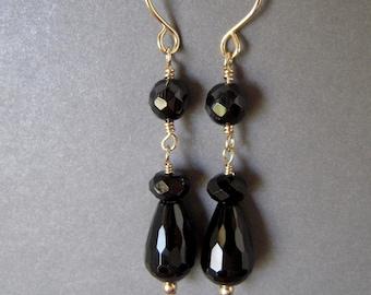 Black Onyx Earrings, Gemstone Gold Filled Earrings, Hand Made Dangle Earrings, Faceted Teardrop