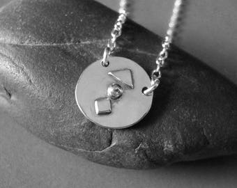 Sterling Silver Charm Necklace, Small Coin Sterling Silver, Hand Forged Necklace, Sterling Silver Chocker Necklace