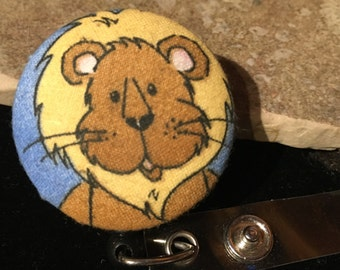 Name badge fabric covered badge reels Lion design