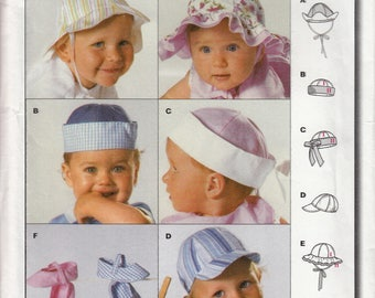 Burda 9810 Sewing Pattern Baby Hats and Caps - UNCUT