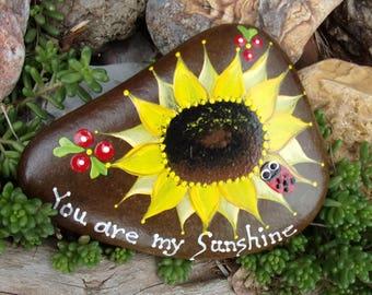 Hand Painted Idaho River Rock-Acrylic Original-Sunflower-Red Ladybug-You are My Sunshine-Yellow-Paper weight-Shelf sitter- Gift