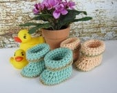 Baby Booties, Crochet Baby booties, Mint Green Peach Newborn booties,  0-3 month booties, 6-12 month booties, boy booties girl booties