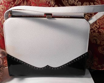 60's Vintage Naturalizer - Black and White Saddle Purse - Like New Condition