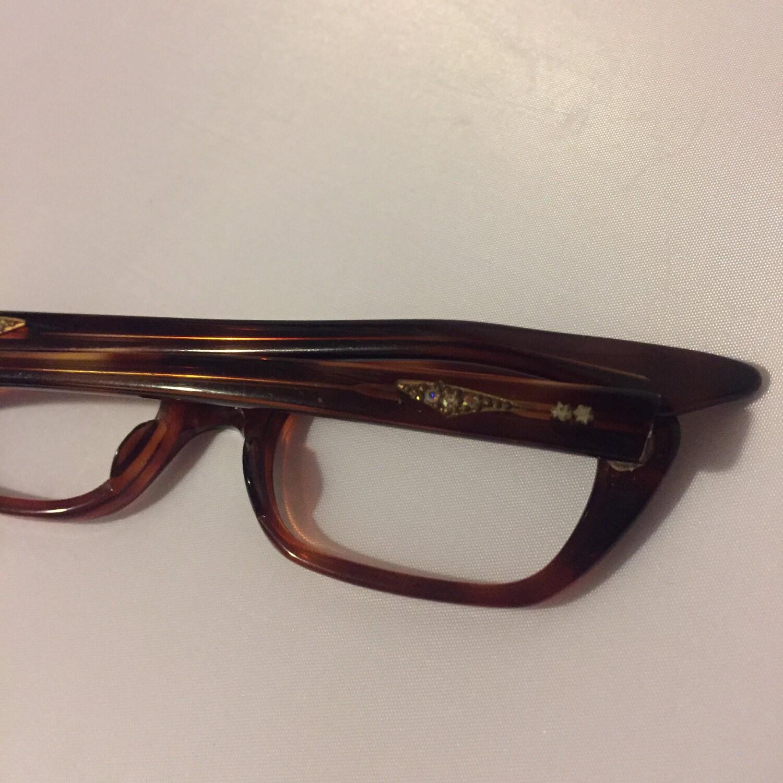 SALE! Brown Rhinestone Glasses, Vintage Women\'s Jeweled Eyeglasses ...