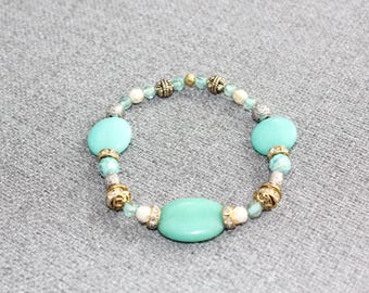 bracelet, cadeau pour elle, chic, perle, cristal, cristaux, turquoise, or, elastique, fait au quebec, gold, mariage, noces, romantique, boho