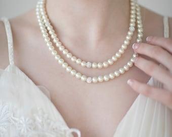 Wedding Pearl Necklace, Bridal Pearl Jewelry, Bridal Necklace, Ivory Pearl Jewelry Set, Wedding Pearl Jewelry
