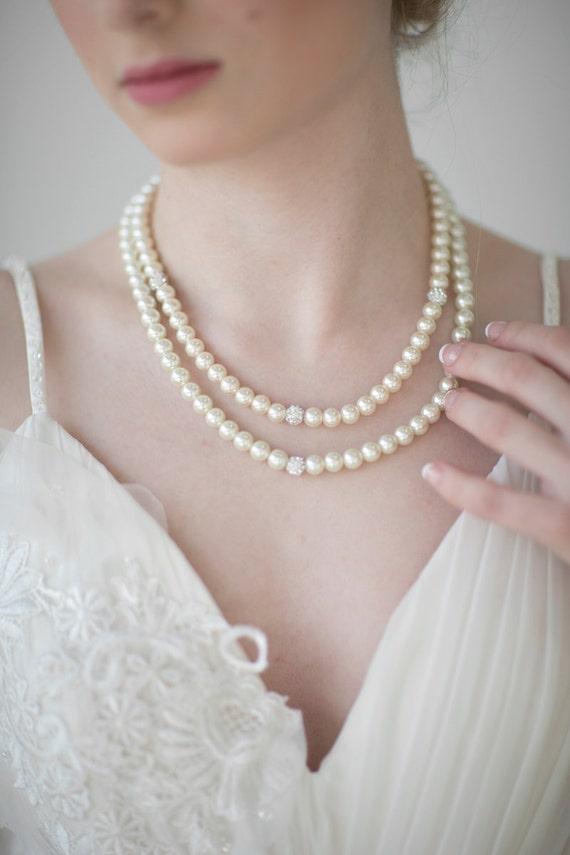Bridal Jewelry, Bridal Necklace, Ivory Pearl Jewelry Set, Wedding Jewelry
