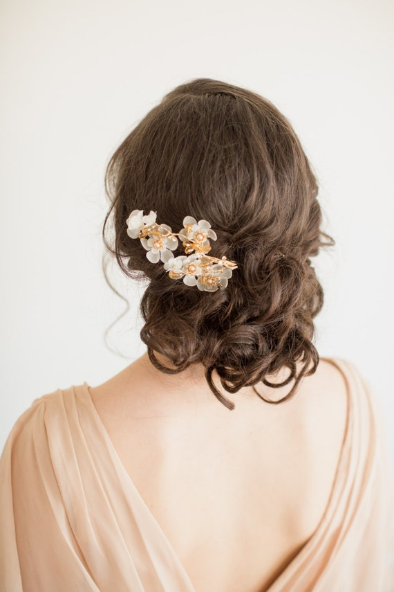 Gold Bridal Headpiece, Wedding Flower Hair Clip, Bridal Crystal Headpiece, Bridal Hairpiece