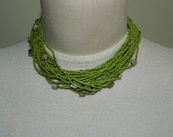 Lime Green Glass Bead Choker necklace Mother of Pearl necklace Neon Green
