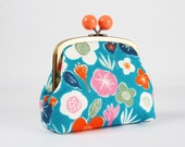 Metal frame clutch bag - Colorful flowers on blue - Color bobble purse / Modern japanese fabric / Orange taupe white pink / Garden