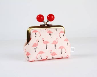 Metal frame coin purse with color bobbles - Flamingo in peach - Color mum / Tropical birds / Korean fabric / Black pink white red