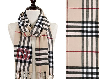 Monogrammed Plaid Cashmere Feel Winter Scarf