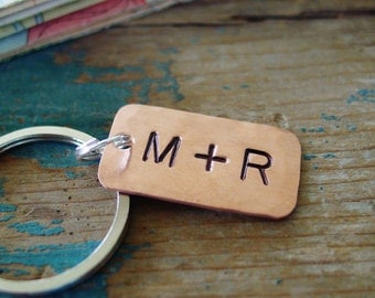 Personalized Keychain,Couple Initials,Cute Keychain,Simple,Hand Stamped,Copper Keychain,7th Anniversary Gift,Boyfriend Gift,Husband Gift