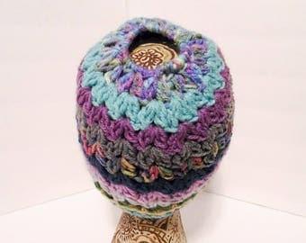 Lavender and Aruba Messy Bun Hat