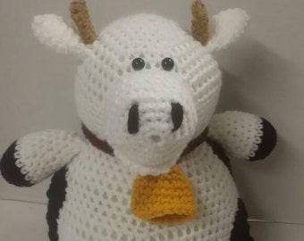 Cow, farm animal, crocheted toy, Amigurumi, stuffed toy, pushed animal, gift for boy or girl