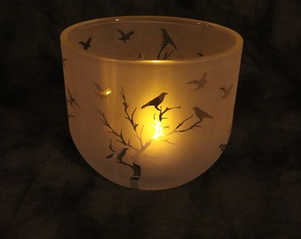 Birds in Trees Etched Oval Candle holder or Vase