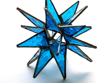 18 Point Stained Glass Moravian Star - 4.5 Inch - Dark Aqua Textured