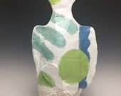 Large Table Top Ceramic Fish; Deep Sea Green Hues With A Splash Of Blue. Fine Art Ceramics