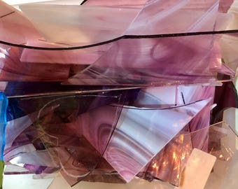 Glass Pieces Pink, Purple and Violet and Wispy for Fused Stained or Mosaic Glass